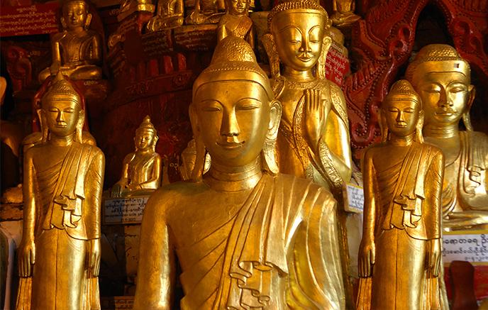Lac Inle - Pindaya via routes, visite des plantations de thé et de la grotte aux 1000 bouddhas